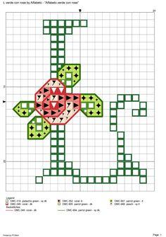 Alfabeto verde con rose: L
