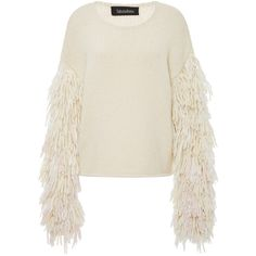 Tabula Rasa     Karash Fringe Sleeve Sweater ($895) ❤ liked on Polyvore featuring tops, sweaters, white, sleeve top, white fringe top, textured sweater, fringe tops and fringe sweaters