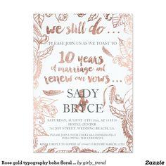 Rose gold typography boho floral vow renewal 3