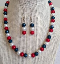 Red White and Blue Necklace Bridesmaid by CherishedJewelryCo, $24.00