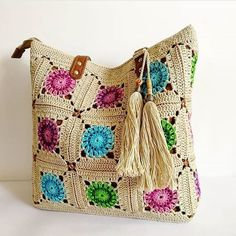 Summer Crochet Tote Bag with Leather Handles Handmade Cotton image 1 Crochet Tote, Crochet Handbags, Crochet Purses, Bead Crochet, Diy Crochet, Crochet Crafts, Diy Crafts, Crochet Designs, Crochet Patterns