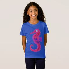 Neon Seahorse girl's fine jersey t-shirt - red gifts color style cyo diy personalize unique