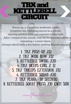 TRX/Kettlebell circuit workout! It's a fast workout using a superset kind of style with antagonist muscle groups. Quickly move through the circuit from one exercise to the next. When you finish one round, rest for about 1 minute to let your heart rate recover, and repeat up to 2 more times. | The Fitnessista Kettlebell Training, Kettlebell Challenge, Kettlebell Circuit, Kettlebell Benefits, Tabata, Suspension Workout, Trx Suspension, Suspension Training, Lose Fat Fast