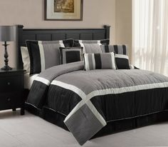 7 Piece Queen Blaine Black and Grey Comforter Set Mens Bedding Sets, Grey Comforter Sets, Grey Bedding, Queen Comforter Sets, Luxury Bedding, Designer Bed Sheets, Bed In A Bag, Buy Bed, Bedroom Decor
