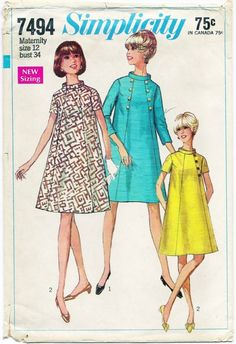 Vintage 1967 SIMPLICITY 7494 Maternity Tent Dress Pattern Size 12     ACT II too!