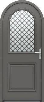 Porte d'entrée mixte alu / bois classique mi vitrée