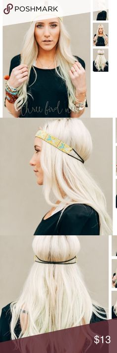 """Coming soon!  Pointed Arrow Beaded Headband Featuring intricate beading and a tribal inspired pattern, this Headband is the perfect accent piece for your bohemian look.  Crafted from seed beads and elastic. 10"""" length. Fits to 23"""" around. Three Bird Nest Accessories Hair Accessories"""