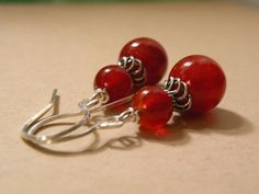 Ember      Red Agate Stone Earrings     by ScorpionMoonDesigns, $28.00