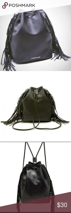 Victoria's Secret bohemian backpack with fringe This beautiful backpack has a drawstring that can also be worn as a purse. 16 in length and 14 in height. The width is 7 in. The Fringe gives it a Bohemian look. Retails for $85 and this is a limited edition. Victoria's Secret Bags Backpacks