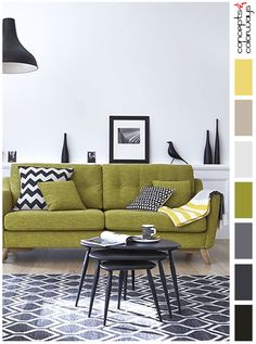 black and white modern living room with lime green sofa, black and white chevron pillow, black and white polka dot pillow, mid-century modern interior, buttercup yellow accent, light taupe floor, pale gray walls, cool white, charcoal gray, lime green, chartreuse, golden green, pantone golden lime