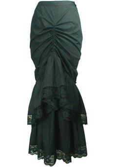 Black Victorian Long Convertible Bustle Skirt - Size Large by China Doll Gothic, Vampire & Steampunk Costume Steampunk, Steampunk Fashion, Gothic Fashion, Gothic Steampunk, Steampunk Skirt, Steampunk Crafts, Edwardian Fashion, Women's Fashion, Long Lace Skirt