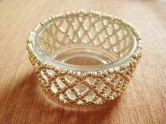 Make This - Beaded Lace Candle Holder - Luxe DIY - How Did You Make This?  I love making beaded lace.