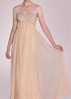 Perfect Chiffon A-line Strapless Sweetheart Neckline Empire Waist Beaded Floor Length Prom Dress
