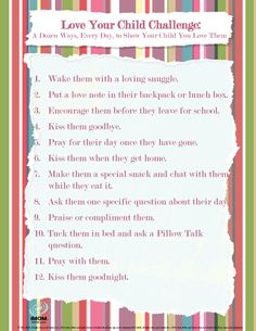 Love Your Child Challenge-FREE PRINTABLE     Moms love their children, there's no doubt about that.  But, in the busyness of our mom-life, we can forget to do the little things that let our children know how we feel.  So take the Love Your Child Challenge.  And, share your love with our cute iMOM Love Notes.