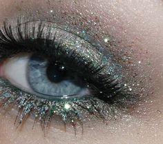 Ice blue glitter eye shadow