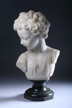 FERDINANDO VICHI (Italian, 1875-1945). Amore, Carved white m