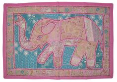 Indian New Design Wall Hanging Cotton Elephant Design Embroidered Tapestry 32x48 #LalHaveli