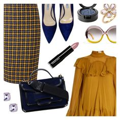 """Mustard & Navy & Lavender"" by stacey-lynne ❤ liked on Polyvore featuring Chloé, Pure Collection, Prada, Pierre Hardy, Tiffany & Co., Candela, Beauty Is Life and Edward Bess"