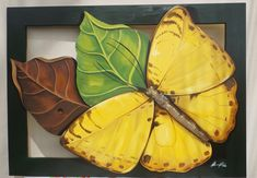 Os quadros com tema de natureza, podem ser feitos sob medida. ... Mural Painting, Painting & Drawing, Tropical Wall Decor, Butterfly Flowers, Butterflies, Wooden Art, Drawing Lessons, Pottery Painting, New Art