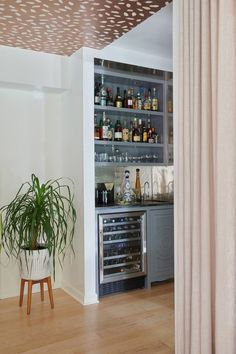 A Designer at Home: The Playful and Sophisticated Residence of Interieurs' Denise Davies House, Blue Rooms, Home, Formal Living Rooms, House Styles, Bars For Home, White Cabinetry, Custom Stone Sink, Bar Inspiration