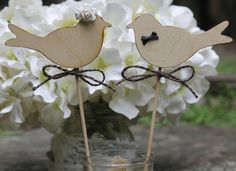 Love Birds Cake Toppers Wedding Cupcake Toppers by MichelesCottage, $27.50