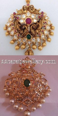 Jewellery Designs: Uncut Diamond and Antique Pendants