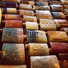Flasks | Chase Brown Ceramic Art - what an incredible array of textures!