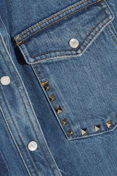 Valentino - Rockstud Distressed Denim Shirt - Mid denim - IT44