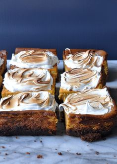 | Pumpkin Cheesecake Squares with Toasted Marshmallow Frosting |