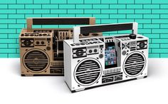 Berlin Boombox: A cardboard sound system for your smartphone - DIY Mobile Speaker Berlin, Boombox, Usb, Mobile Speaker, Origami, Smartphone, Mediterranean Design, Electronic Parts, Tech Gadgets