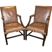 Pair of Georgian Carved Mahogany and Leather Upholstered Gainsborough Chairs