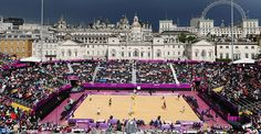 London 2012 beach volleyball venue at Horse Gaurds Parade.. Wish I was good enough to play in the olympics!