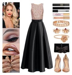 """Extravagant Night Out W/ The Mr."" by jessicagrewal ❤ liked on Polyvore featuring Chicwish, Gianvito Rossi, Ann Taylor, Joana Salazar, Van Cleef & Arpels, Elizabeth Arden and Gucci"