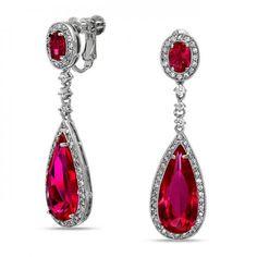 Bling Jewelry CZ Sapphire Color Teardrop Chandelier Earrings Screw Back Clip On - Fashion Jewelry Screw Back Earrings, Clip On Earrings, Women's Earrings, Bridal Earrings, Sapphire Necklace, Gemstone Earrings, Sapphire Jewelry, Birthstone Necklace, Necklace Set