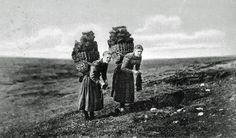 Irish women carrying 30 kilos of peat and knitting at the same time. Gaelic multitasking at its finest.
