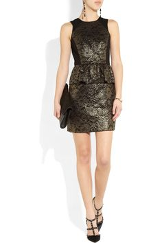 Black twill Gold foil-effect lace-appliqué, peplum, fully lined Concealed hook and zip fastenings along back nylon, polyester; Gold Lace, Metallic Lace, Valentino Pumps, Tibi Dresses, Lace Peplum, Discount Designer Clothes, Dress Me Up, Clothes For Sale, Dress To Impress