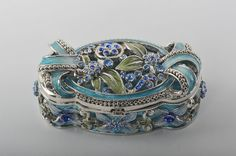 Light Blue with Flower Decorations  Faberge Styled Trinket Box Handmade by Keren Kopal with Swarovski Crystals enamel painted