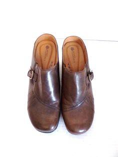 Earth Spirit Black Leather Clog Women's Shoes Size 7.5M Medium