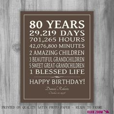 80th BIRTHDAY GIFT Sign Print Personalized by PrintsbyChristine: