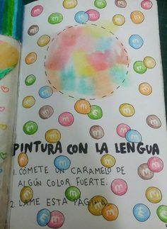 "Destroza este diario/Wreck this journal ""Pintura con la lengua"" ""Tongue paint""… Wreck This Journal Cover, Wreak This Journal Pages, Journal Covers, Art Journal Pages, Destroy This Book, Create This Book, Cross Stitch Borders, Button Art, Art Journal Inspiration"