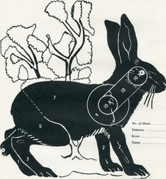 Vintage Shooting Target/ Winchester/ Jackrabbit - No no no! - love the bunnies, don't shoot them!