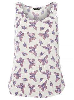 Ivory Butterfly Scoop Vest