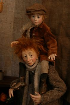 Christmas Present - Bob Cratchit and Tiny Tim by Anna Brahms