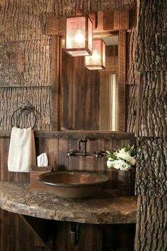Rustic Bathroom Home Design Ideas, Pictures, Remodel and Decor Cabin Homes, Log Homes, Rustic Bathrooms, Rustic Cabin Bathroom, Log Cabin Bathrooms, Cottage Bathrooms, Marble Bathrooms, Bedroom Rustic, Rustic Nursery
