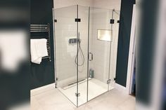 One great benefit of clear glass enclosures is for showcasing the tile work Frameless Shower Enclosures, Glass Suppliers, Laminated Glass, Glass Balustrade, Custom Mirrors, Glass Shower Doors, Custom Glass, Wet Rooms, Panel Doors
