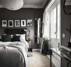 50 Men's Bedroom Ideas Masculine Interior Design I Dark Gray Bedroom, Small Master Bedroom, Modern Bedroom, Dark Bedrooms, Trendy Bedroom, Master Bedrooms, Bedrooms For Men, Masculine Master Bedroom, Charcoal Bedroom