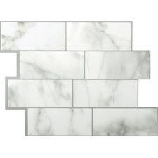 "Mosaik Metro Carrera 11.56"" x 8.38"" Peel & Stick Wall Tile in White and Gray"