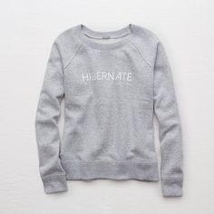 Aerie Snow Day Sweatshirt ($40) ❤ liked on Polyvore featuring tops, hoodies, sweatshirts, grey, grey crew neck sweatshirt, gray top, raglan top, aerie sweatshirt and graphic crewneck sweatshirt