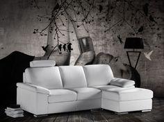 composizione divano angolare in pelle bianca con 3 cuscini arredo ... - In Pelle Bianca Divano Ad Angolo Design