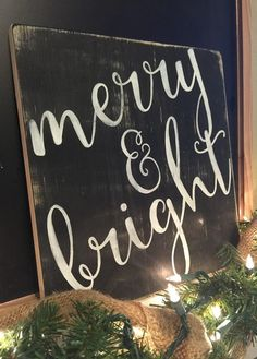 $25.00 Merry & Bright Farmhouse Christmas Sign #christmas #farmhouse #merry&bright #ad #rustic #woodensign #christmasdecor #fixerupper #merryandbright #home